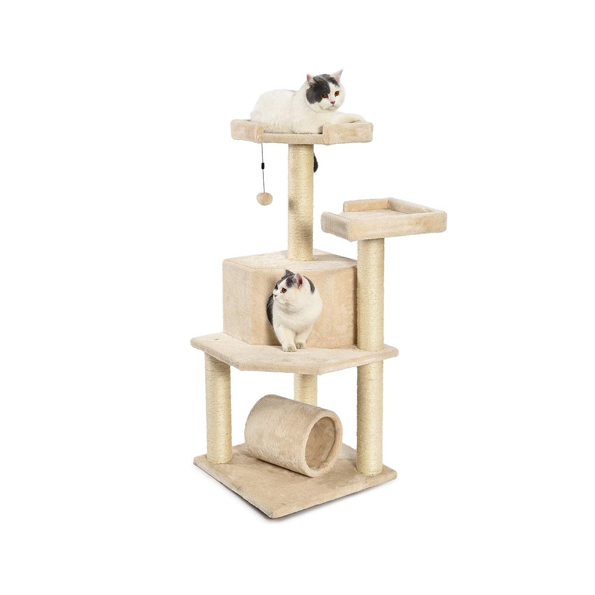 AmazonBasics Cat Tree Tower with Tunnel And Scratching Post - 19 x 19 x 43 Inches, Beige by AmazonBasics