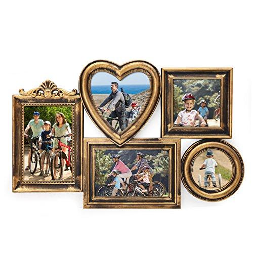 Deco De Ville 5 Opening Plastic Decorative Antique Golden Puzzle Collage Picture Photo Frame, Wall Hanging, Gold by Deco De Ville