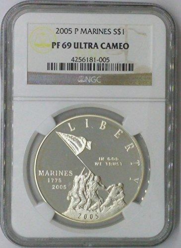 2005 P Modern Commemorative $1 PF69 NGC Marines Silver Dollar Us Coin 90%