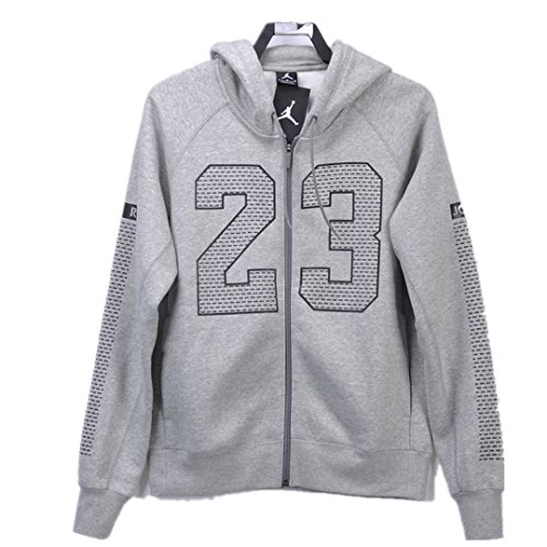 NIKE Air Jordan Men's Basketball Fleece Hooded Jacket 872855-010 063 (XS, Gray) by NIKE