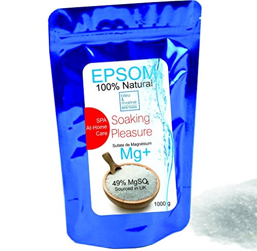Pure Epsom Salt 1000 g Natural Magnesium ● Resealable stand-up pouch ● Easy-to-Use ● Food Grade, SPA and At-Home Care Soaking Pleasure ● A pure, time-tested mineral ● Health, Beauty , Fitness & Wellness, Crafts, Gardening by bleumarine Bretania , France