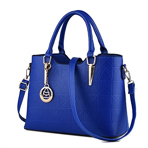 LIZHIGU Womens Leather Shoulder Bag Tote Purse Fashion Top Handle Satchel Handbags Royal Blue by LIZHIGU