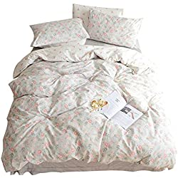 ORUSA Girls Floral Bedding Sets Twin Duvet Cover Cotton with Zipper Closure Corner Ties White Grey for Kids Children Toddler Women Teen Bedding Set Reversible Flower Twin Duvet Cover Set, Style a
