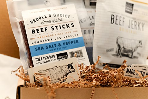Peoples Choice Beef Jerky - Jerky Box - Simple & Savory - Meat Snack Sampler Gift Basket for Guys - 4 Items