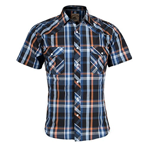 [Coevals Club Men's Snap Button Down Relaxed Fit Plaid Short Sleeve Work Casual Shirt (Blue & Orange #5, L)] (Orange Plaid Western Shirt)