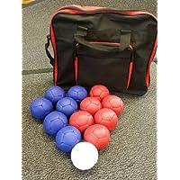 Stevens - Juego de pelotas para boccia, 6 de color rojo, 6 de color azul y 1 bola diana, cosidas a mano, con bolsa de…