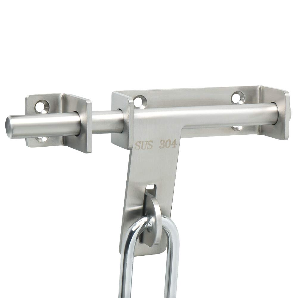 Alise MCX9800 SUS 304 Stainless Steel Slide Bolt Latch Gate Latches Heavy Duty Thicker Door Lock,Padlock Can be Installed with It