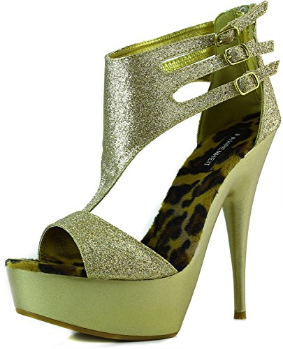 Vrouwen Platform Hoge Hak Peep Toe Enkelbandje Met Gespen Glitter Avondjurk Sandalen Mode Schoenen Goud