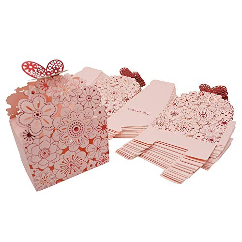 Kslong 50Pcs/Set Flower Butterfly Hollow Candy Box Cookie Gift Boxes Romantic Wedding Favors Cute Chocolate Box for Wedding Bridal Birthday Party Supplies (Pink, L)
