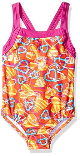 Speedo Big Girls' Solid Infinity Splice One Piece Swimsuit - Orange Hearts (8)