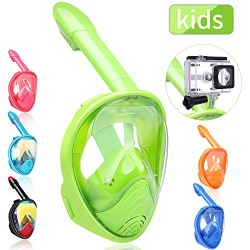 QingSong Kids Full Face Snorkel Mask, Snorkeling Mask with Detachable Camera Mount, 180 Panoramic Upgraded Dive Mask with Newest Breathing System, Dry Top Set Anti-Fog Anti-Leak ()