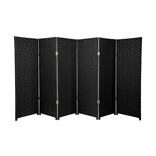 MD Group Room Divider Woven Fiber 4-ft Tall 6-Panel Black Foldable Double Sided Lightweight by MD Group
