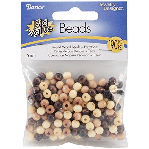 Wood 6mm Round Beads - Darice Round Wood Beads (190/Pack), 6mm, Earth Tones