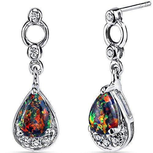 Created Black Opal Dangling Earrings Sterling Silver Tear Drop