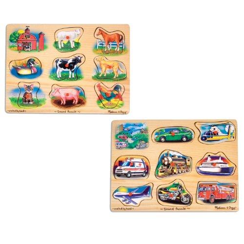 - Melissa & Doug Sound Puzzles Set: Farm and Vehicles Wooden Peg Puzzles