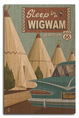 (Lantern Press Holbrook, Arizona - Route 66 - Wigwam Village Motel (10x15 Wood Wall Sign, Wall Decor Ready to Hang))
