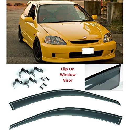 CLIP ON Window Visors JDM Style For 96-00 Civic EK Hatch 3Dr Rain Guard Shield