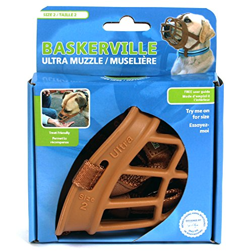 Image of Baskerville Ultra Basket Dog Muzzle – The Company of Animals - Adjustable and Comfortable Secure Fit - Durable Lightweight Rubber - Stops Biting, safe retraining of aggressive dogs- Size-2 Tan