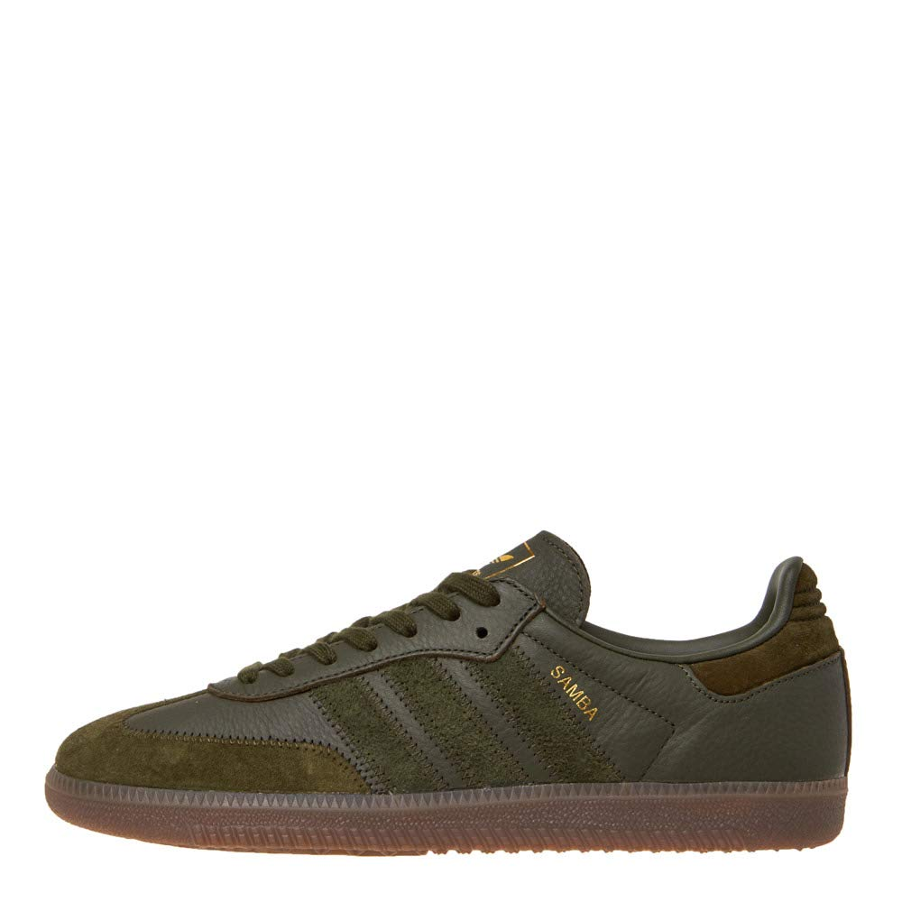 adidas Mens Samba OG FT Leather Night Cargo Gold Trainers 8.5 US
