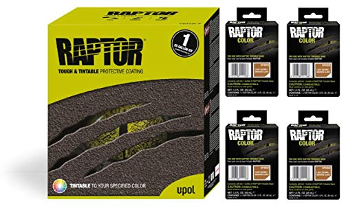 Raptor UP5058 Truck Bed Liner 1US Gallon + 4 Light Brown Colors Bundle