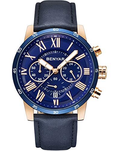 Gold Case Quartz Movement - Luxury Chronograph Waterproof BENYAR Men's Watch, Business Blue Leather Strap with Elegant Watch, Quartz Movement with Stainless Steel Gold case