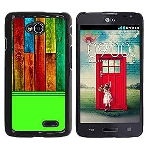 Caucho caso de Shell duro de la cubierta de accesorios de protección BY RAYDREAMMM - LG Optimus L70 / LS620 / D325 / MS323 - Wood Texture Pattern Green Colorful