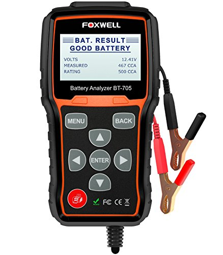 FOXWELL Battery Tester BT705 Automotive 100-2000 CCA Battery Load Tester, 12V 24V Car Cranking and Charging System Test Scan Tool Digital Battery Analyzer for Cars and Heavy Duty Trucks 24v Battery System