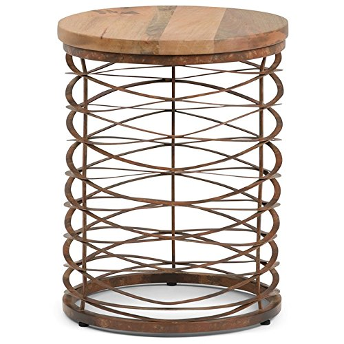 (Simpli Home AXCMTBL-16 Miley  Round 17 inch wide Metal and Wood Accent Accent Side Table in Natural, Distressed Bronze)