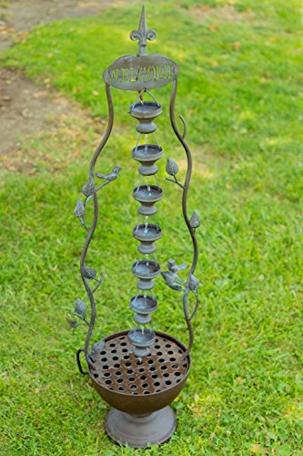 Alpine MAZ256 Metal Hanging 7-Cup Tier Layered Fountain, 41 Inch Tall, Bronze