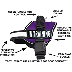 "Service Dog Harness Vest Cool Comfort Nylon for Dogs Small Medium Large Girth, Purchase Comes with 2 in Training Reflective Patches. Please Measure Dog Before Ordering (Girth 24-31"", Purple)"