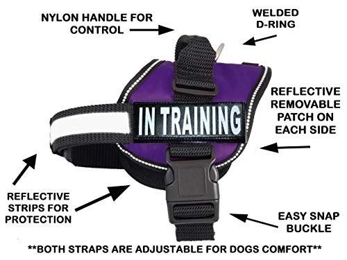 Service Dog Harness Vest Cool Comfort Nylon for Dogs Small Medium Large 14-39 Girth, Purchase Comes with 2 in Training Reflective pathces. Please Measure Dog Before Ordering