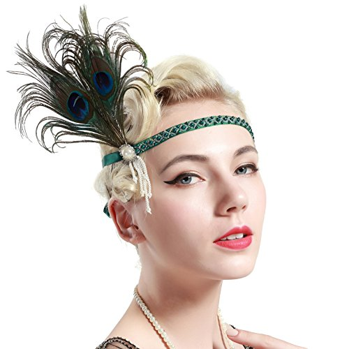 Peacock Flapper Headband (BABEYOND Vintage 1920s Flapper Headband Roaring 20s Great Gatsby Headpiece with Feather 1920s Flapper Gatsby Hair Accessories (Peacock))