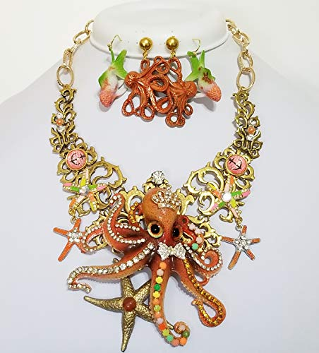 Sparkly Crystal Octopus Starfish Nautical Bib Necklace 2 x Earrings Signed One of a - Rhinestone Signed Earrings