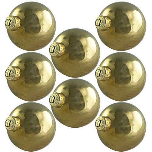 Glass Gold Light Ball (2.6in Glass Xmas Ball Ornaments with Wire Hook Hangers 16 Pack. Small Traditional Shiny Gold Seamless Bulbs. Great for DIY Gifts, Crafts and Tree Decorating. Flame Resistant Christmas Decoration)