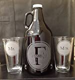 Beer growler, Wedding gift, Wedding growler, Monogram, Monogram growler, Wedding beer glasses, Wedding gifts, Beer wedding, Mr. and Mrs., Beer Ceremony, wedding gift, Personalized