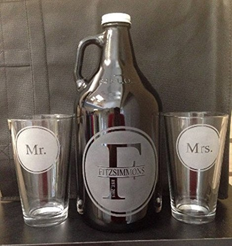 Beer growler, Wedding gift, Wedding growler, Monogram, Monogram growler, Wedding beer glasses, Wedding gifts, Beer wedding, Mr. and Mrs., Beer Ceremony, wedding gift, Personalized by Vital Signs NW