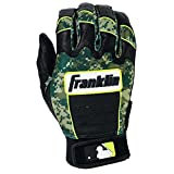 Franklin Sports Adult MLB CFX Pro Digi Series Batting Gloves, Pearl/Green, Small