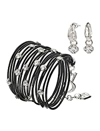 SEA-Smadar Wrap Black Lether bracelat with Swarovski Crystals and Earrings Set for WOM and Silver Plated Leaf Elements