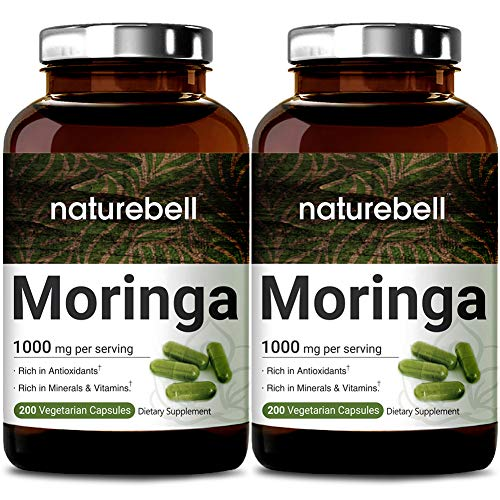 2 Pack NatureBell Moringa Capsules, 1000mg Per Serving, 200 Counts, Green Superfood Supplement, Strong Antioxidant to Repair, Protect and Nurture Your Skin Cells, Made in USA