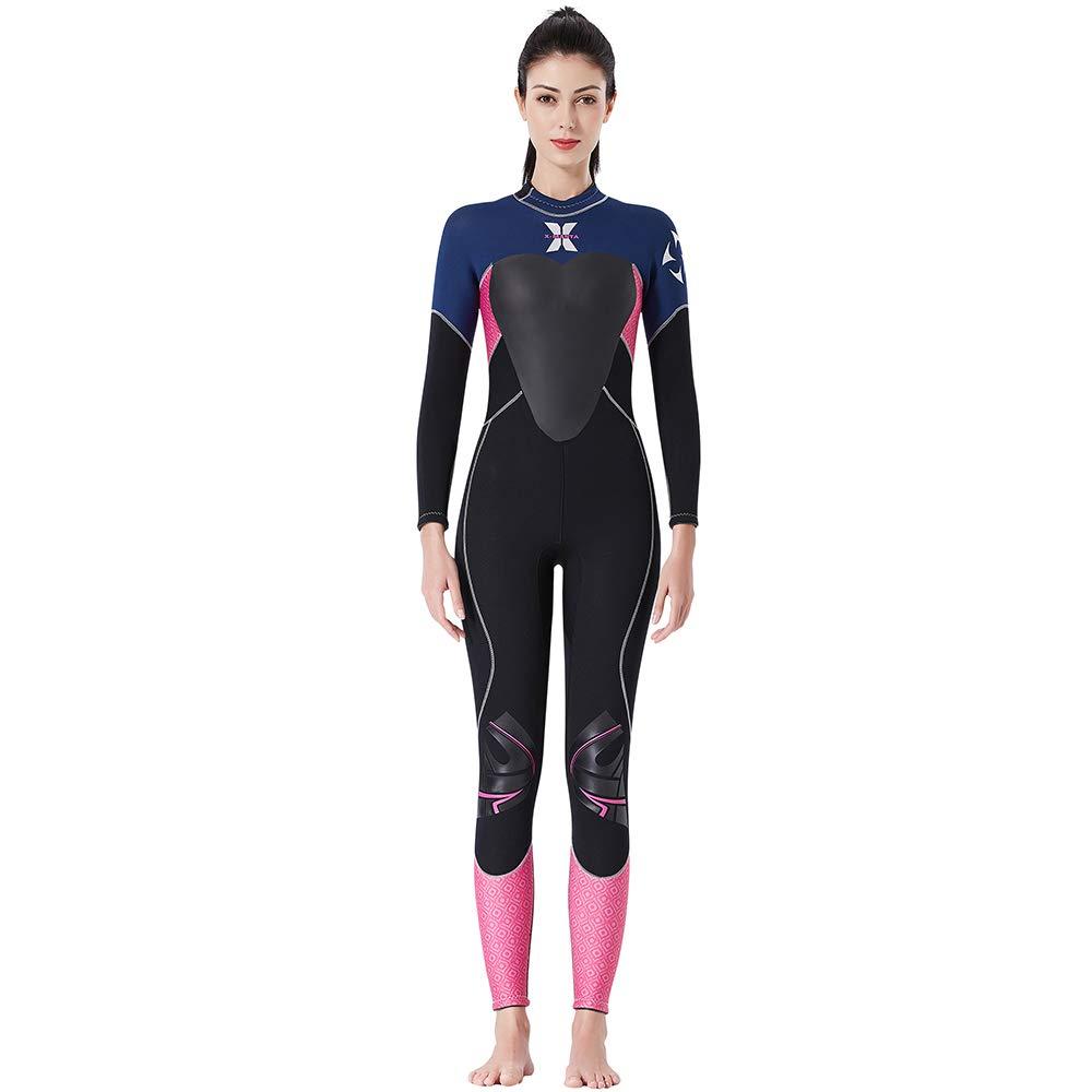 女性用ウェットスーツ、スーパーストレッチ3mmネオプレン、サーフィン、ダイビング、シュノーケリング、オールウォータースポーツに最適 黒 Small
