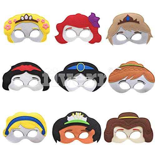 Disney Princess Theme Party Decorations (Kool KiDz Princess Masks 9 - Kids Face Masks for Birthdays, Halloween Costumes, Party Supplies, Games and More - Comfortable, One-Size-Fits-Most Design - Premium Quality Eco-Felt and)