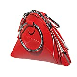 LIZHIGU Women Leather Clutch Bag Triangle Wristlet Purse Cute Tassel Wallet Red