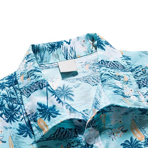NUWFOR Men Hawaiian Print Short T-Shirt Sports Beach Quick Dry Blouse Top Blouse(Blue,XL US Chest:45.3'' by NUWFOR (Image #2)