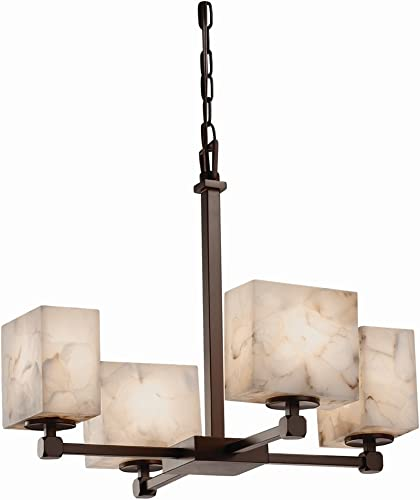 Justice Design Group Lighting ALR-8420-55-DBRZ-LED4-2800 Tetra 4-Light Chandelier-Rectangle Shade-Alabaster Rocks-LED