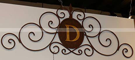 Amazon.com: Large IRON SCROLL MONOGRAM Initial Letter Wall Grille ...