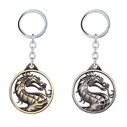 J&C Mortal Kombat Logo (2 Pack) Keychain with Gift -