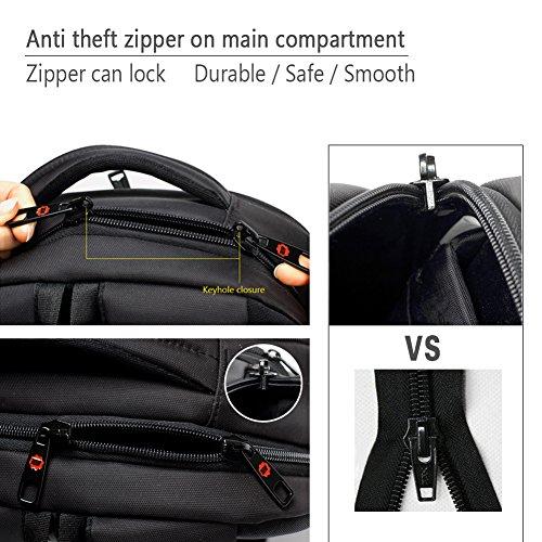 kopack Laptop Backpack Slim Computer Travel Bag Anti Theft Water Resistant 15.6 Inch Black KP492 by kopack (Image #3)
