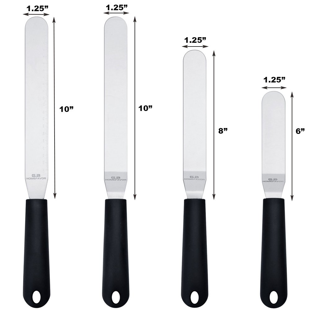 """Straight & Angled Icing Spatula Set of 4 Stainless Steel Offset Spatulas Cake Decorating Supplies with Scale (Length 11.2""""- 13.2""""- 15.2""""- 15.5"""") by G.a HOMEFAVOR (Image #2)"""