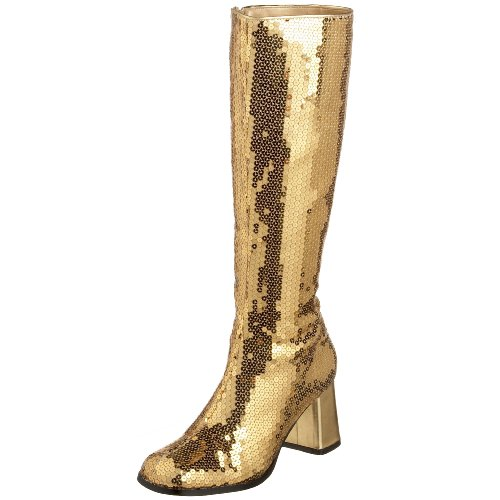 Pleaser Bordello Women's Spectatcular-300 Sequin Gogo Boot,Gold Sequins,9 M US ()