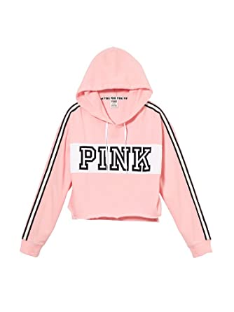 17802be691e Victoria s Secret Pink Cropped Pullover Raw Edge Hoodie Small Color Candy  NWT at Amazon Women s Clothing store